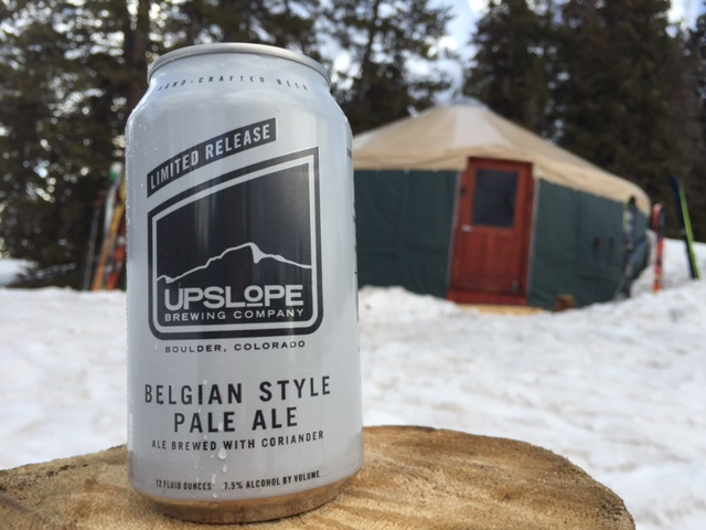 A can of Upslope Belgian Style Pale Ale at the Geyser Pass Yurt.